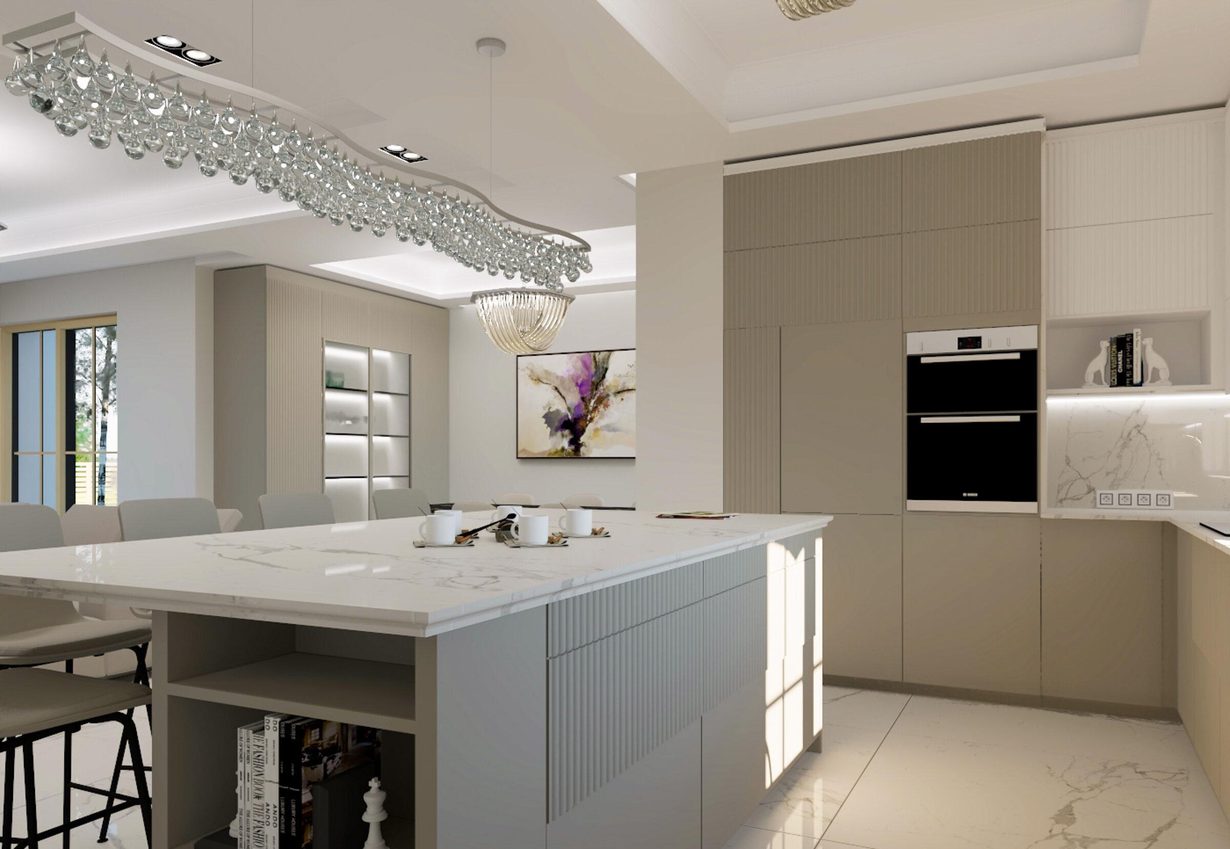 Дизайн интерьера кухни-гостиной и столовой в частном доме